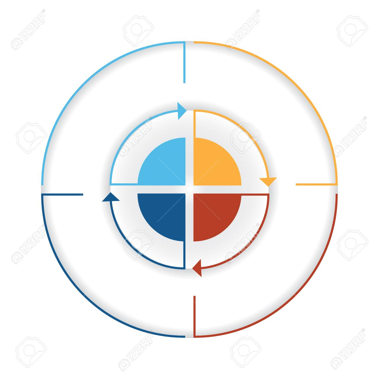 Arrows from colourful lines around circle template infographic arrows from colourful lines around circle template infographic four position pie chart stock photo nvjuhfo Choice Image