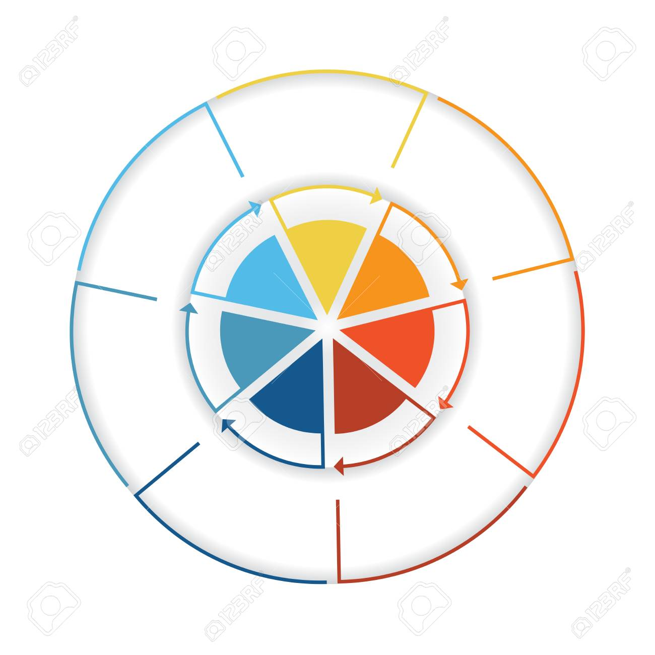 Arrows from colourful lines around circle template infographic arrows from colourful lines around circle template infographic seven position pie chart foto de nvjuhfo Choice Image