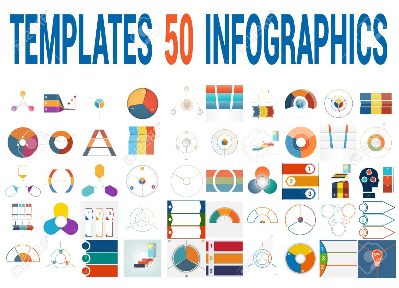 50 vector templates for infographics pie chart ring chart