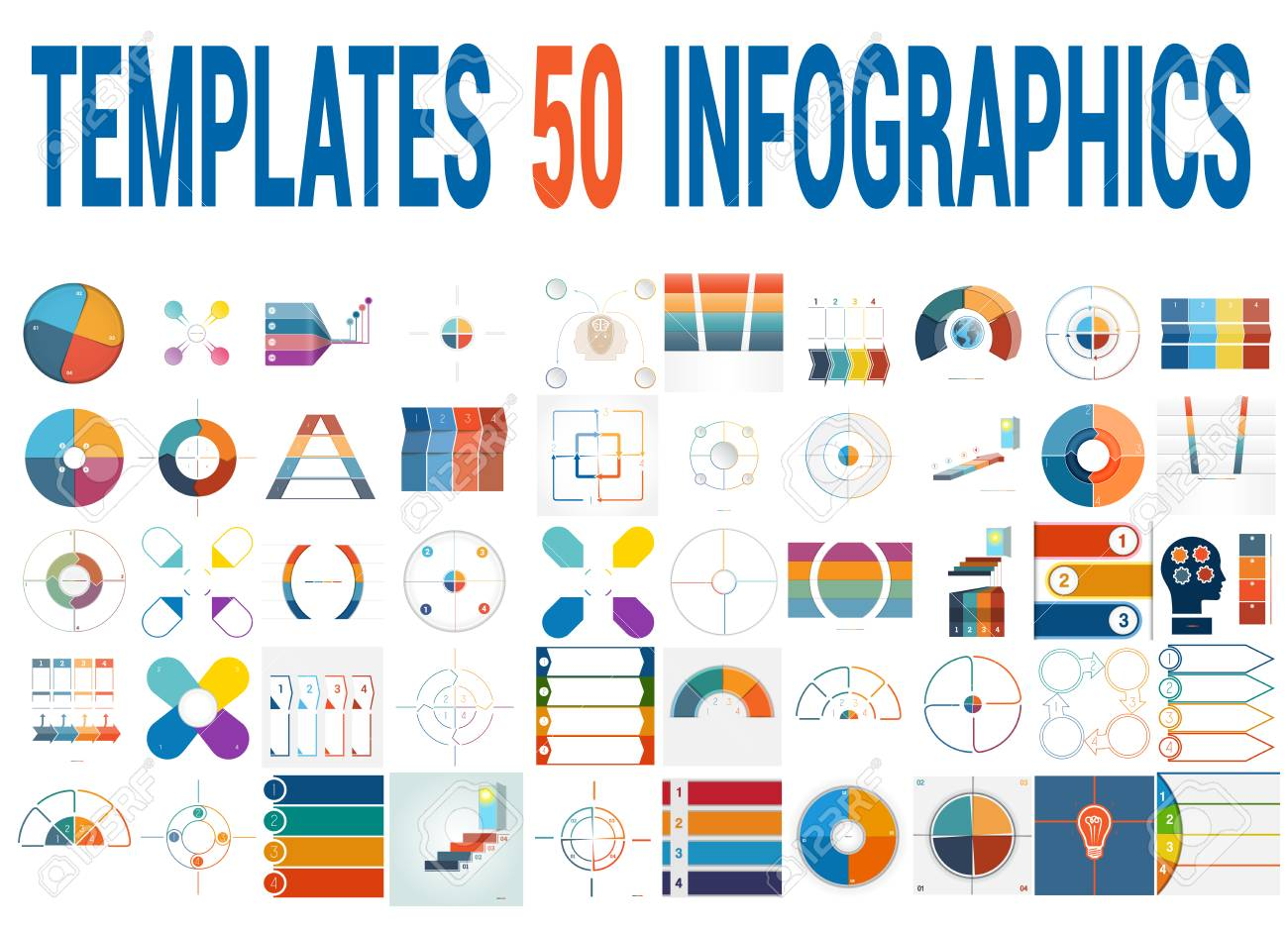 50 Vektor-Vorlagen Für Infografiken, Kreisdiagramm, Ringdiagramm ...
