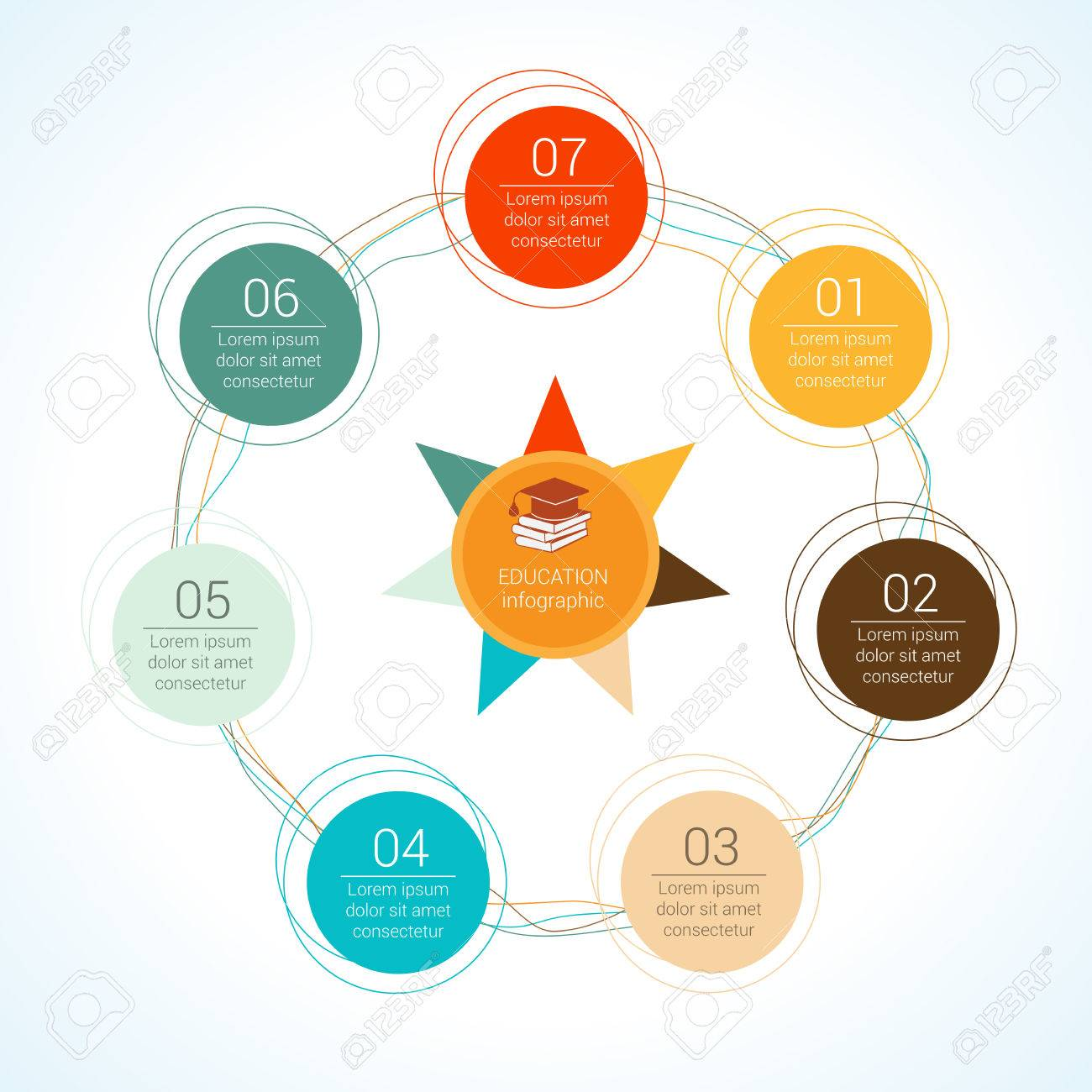 template circular vector education infographic for presentation