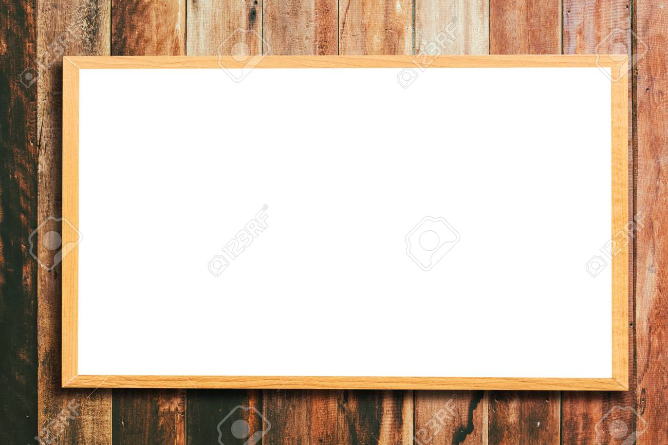 Mock Up Blank Wooden Picture Frame On Wooden Wall Stock Photo ...