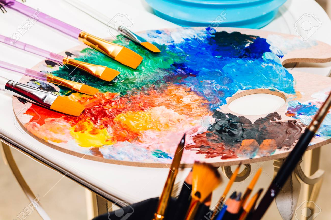Set For Drawing And Art Painting With Color Palette And Watercolor