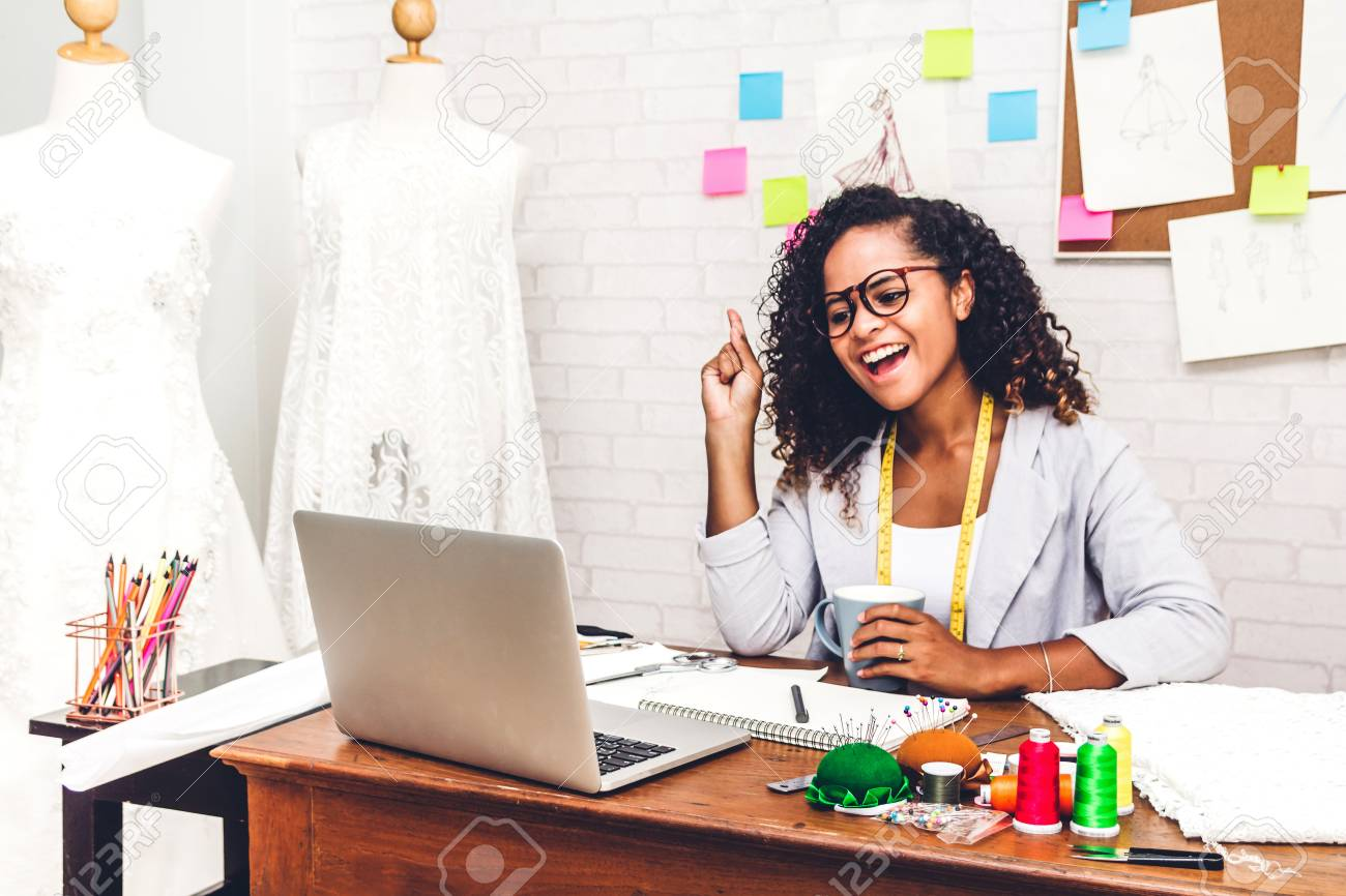Smiling African American Black Woman Fashion Designer Working Stock Photo Picture And Royalty Free Image Image 115329957