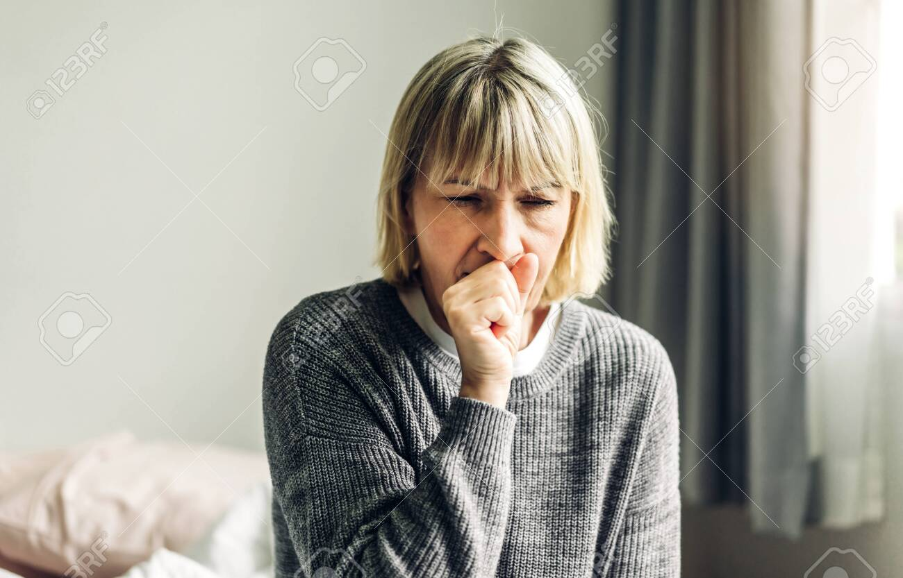 Sick senior adult elderly asia women feeling unwell coughing with sore throat.Healthcare and medicine concept - 155846625