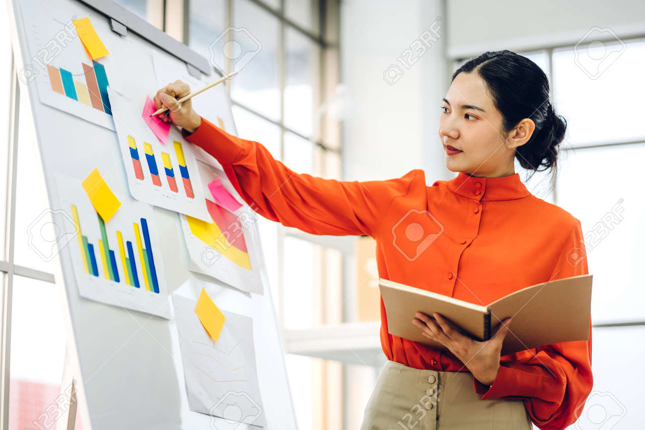 Casual business woman working and planning writing over the project with stickers note on white board at modern office - 168606990