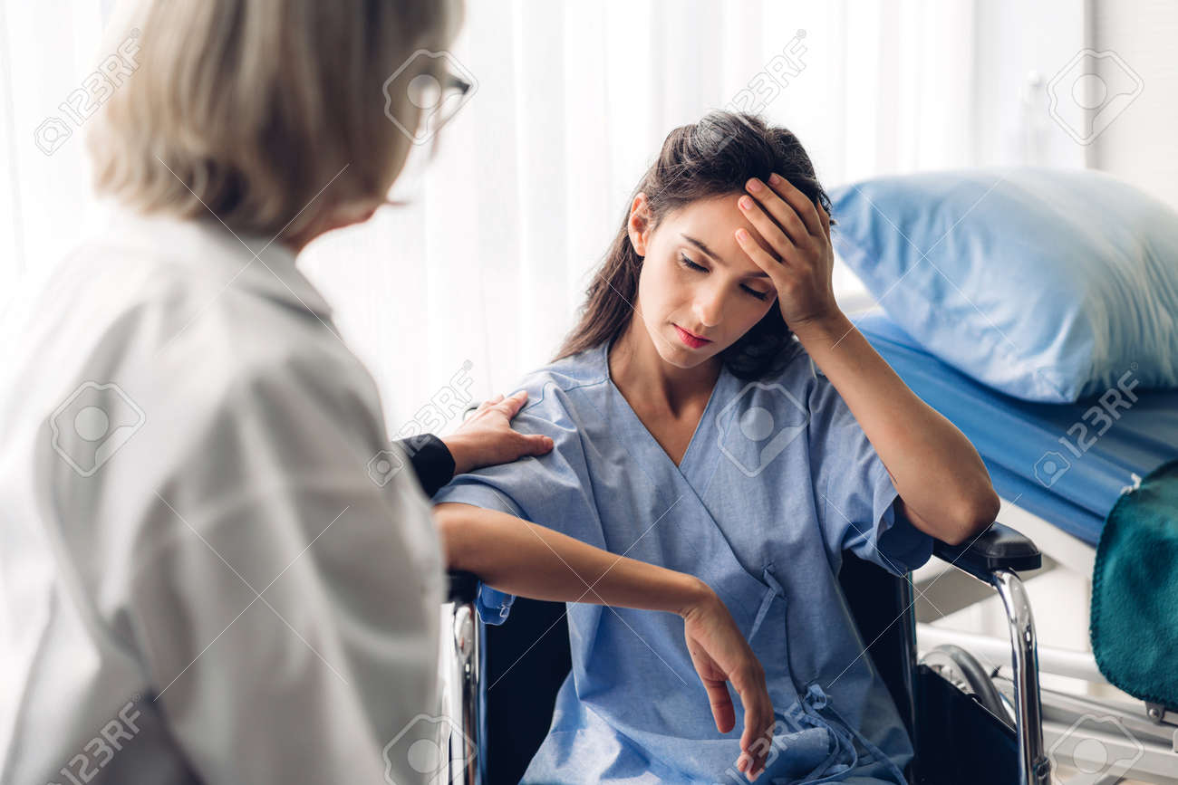 Female doctor discussing and consulting with woman patien in hospital.healthcare and medicine - 168607238