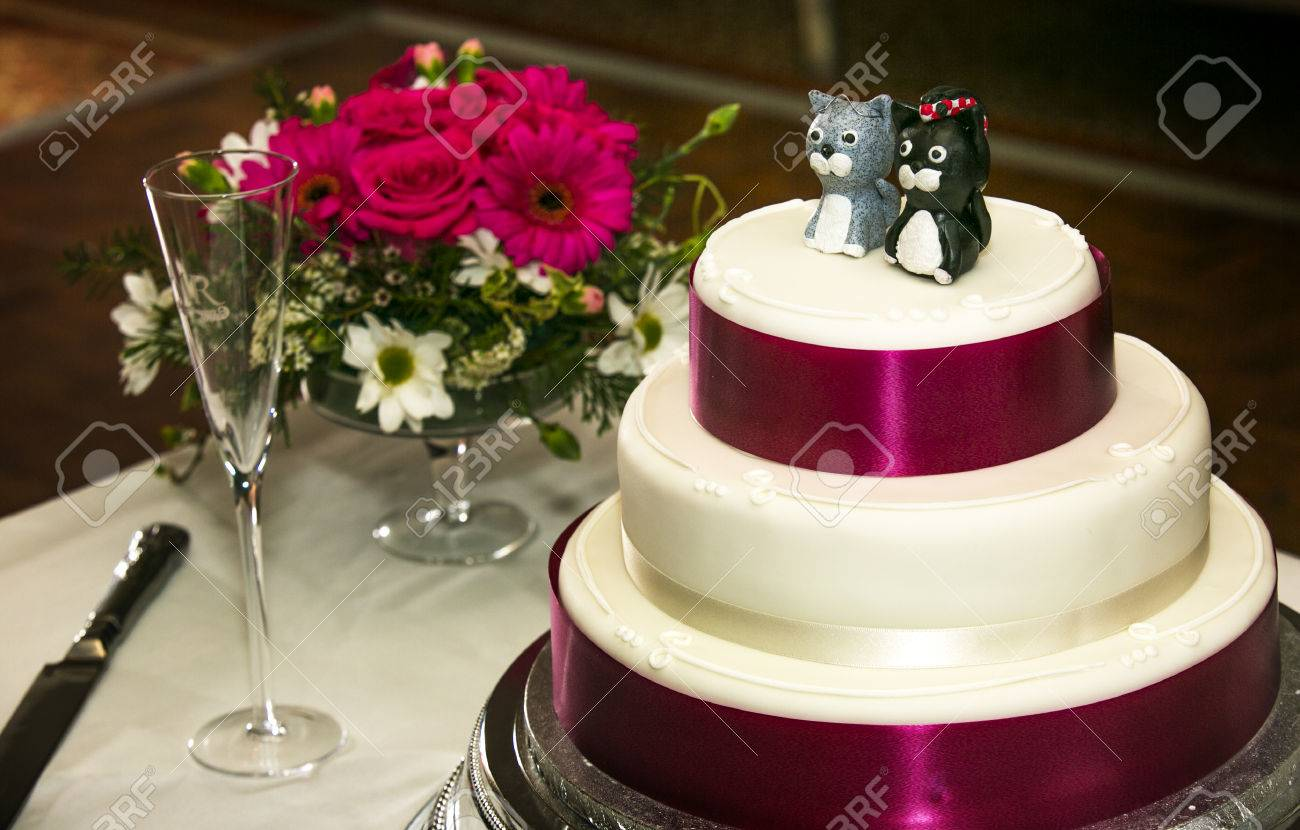 A Wedding Cake Close Shot With Cat Cake Toppers