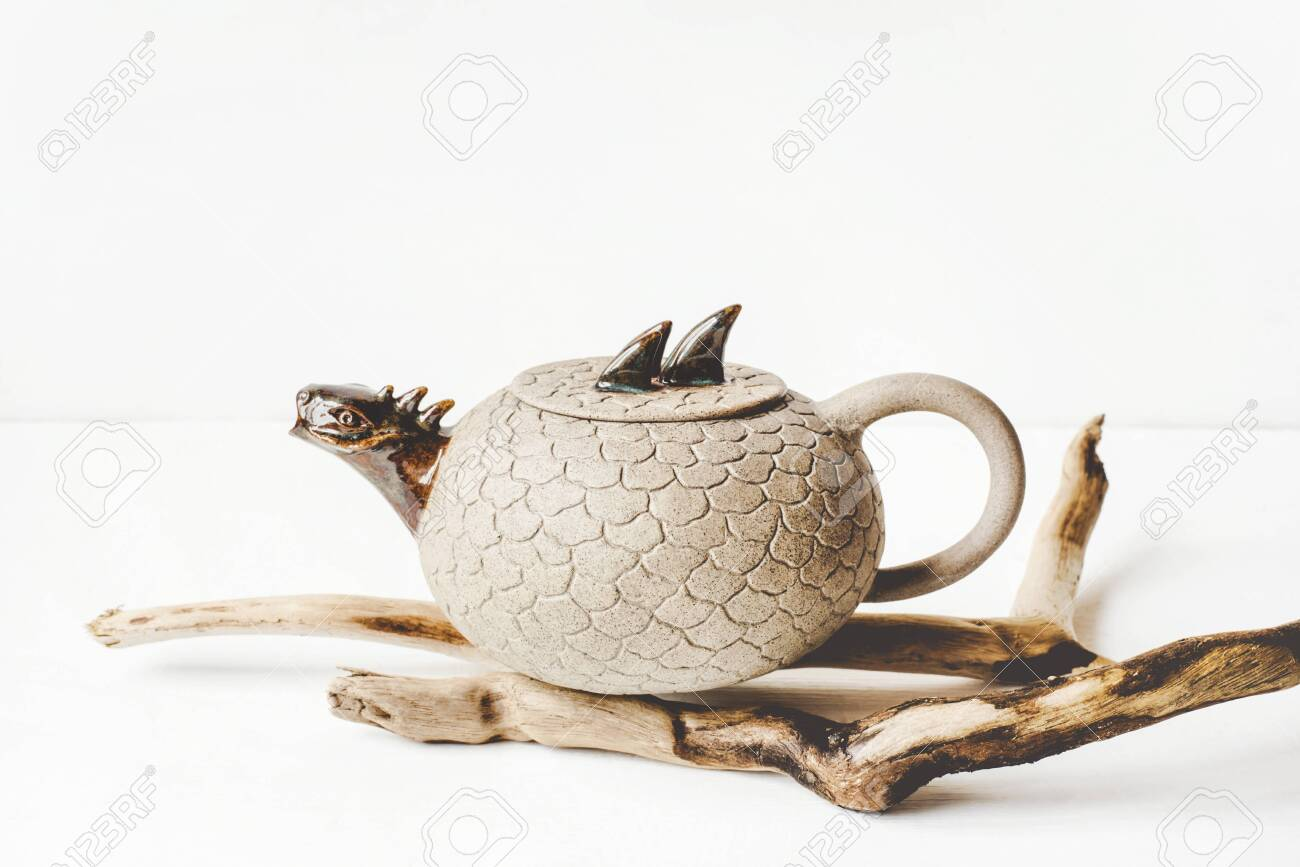 Ceramic Teapot Handmade With A Spout In The Form Of A Dragon Stock Photo Picture And Royalty Free Image Image 154031314