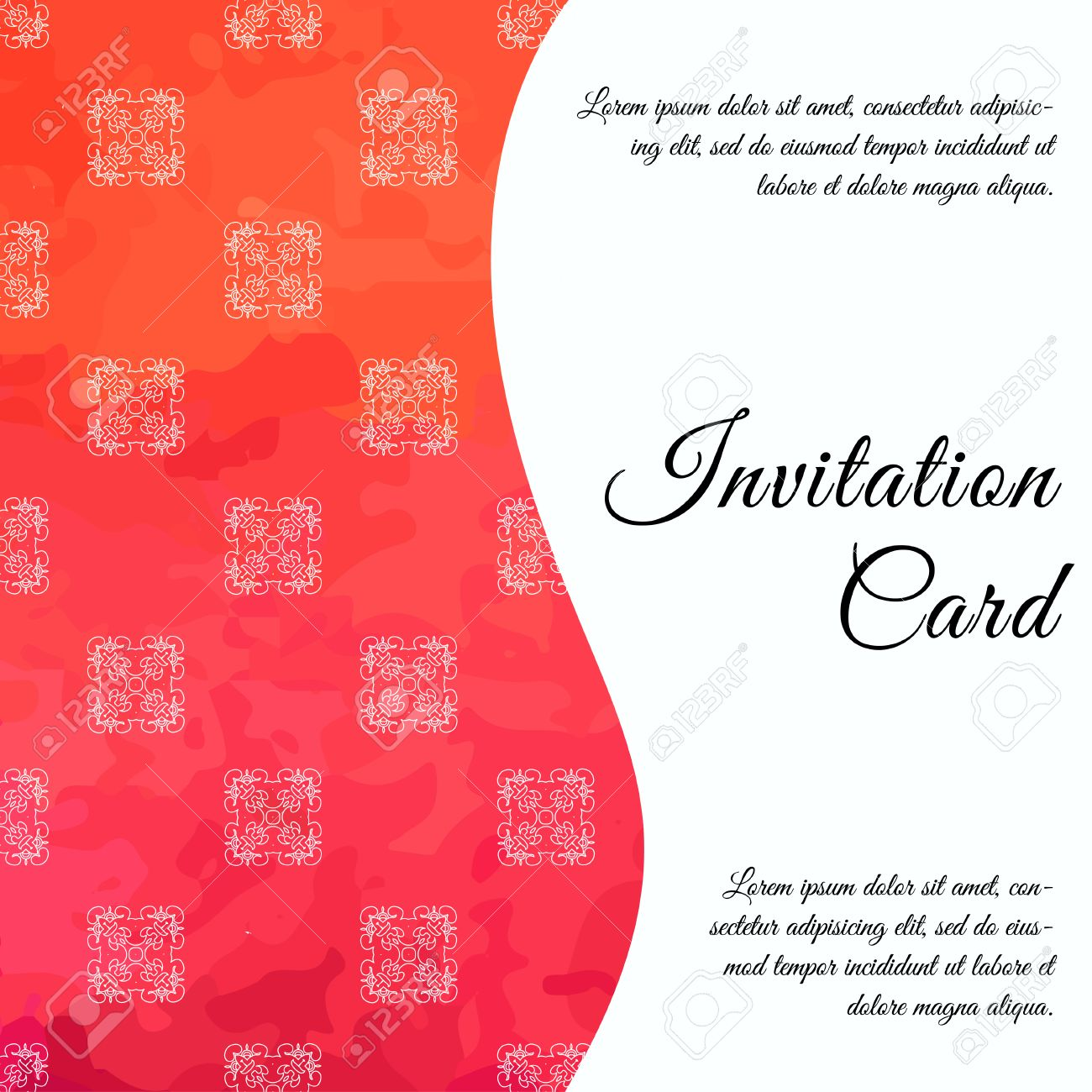 Invitation Card On Wedding, Birthday. Background With Watercolor ...