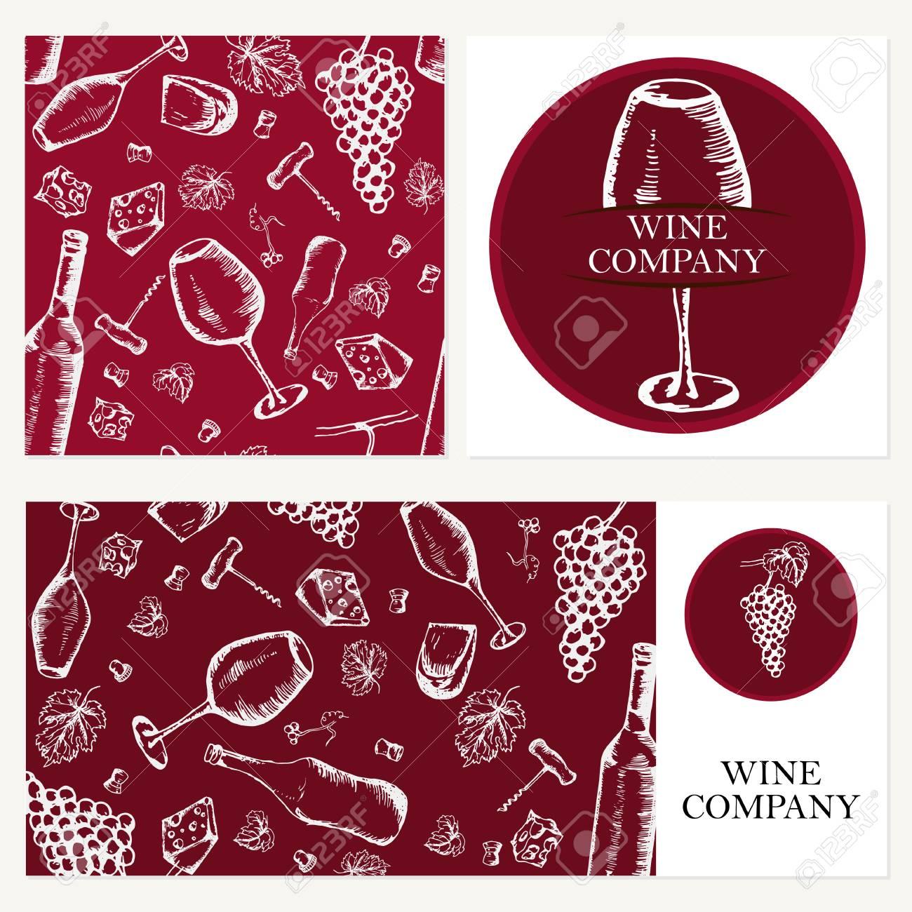 Societe De Vin Retro Carte Enveloppe Theme Des Restaurants Les