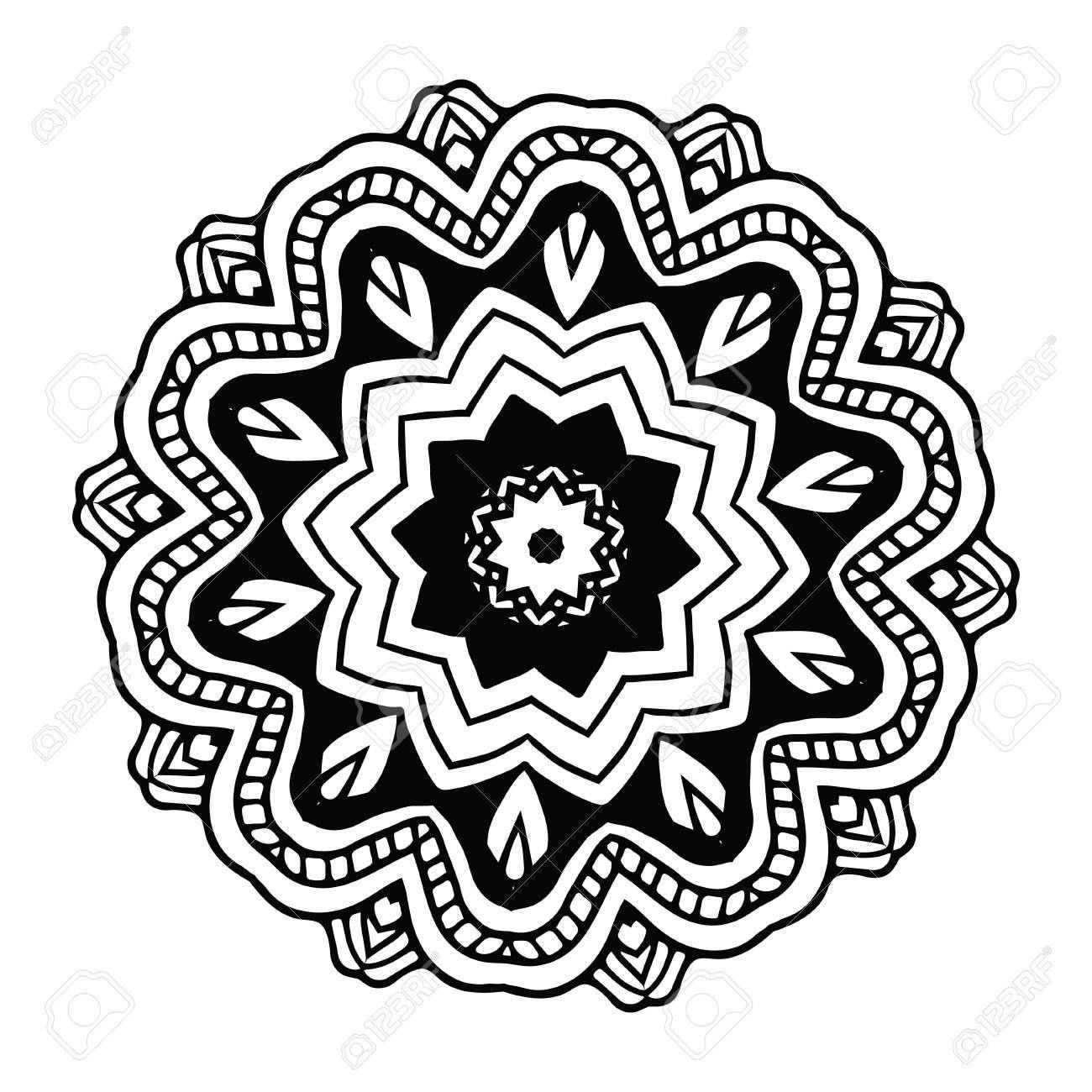 Abstract Design Black White Element Round Mandala In Vector