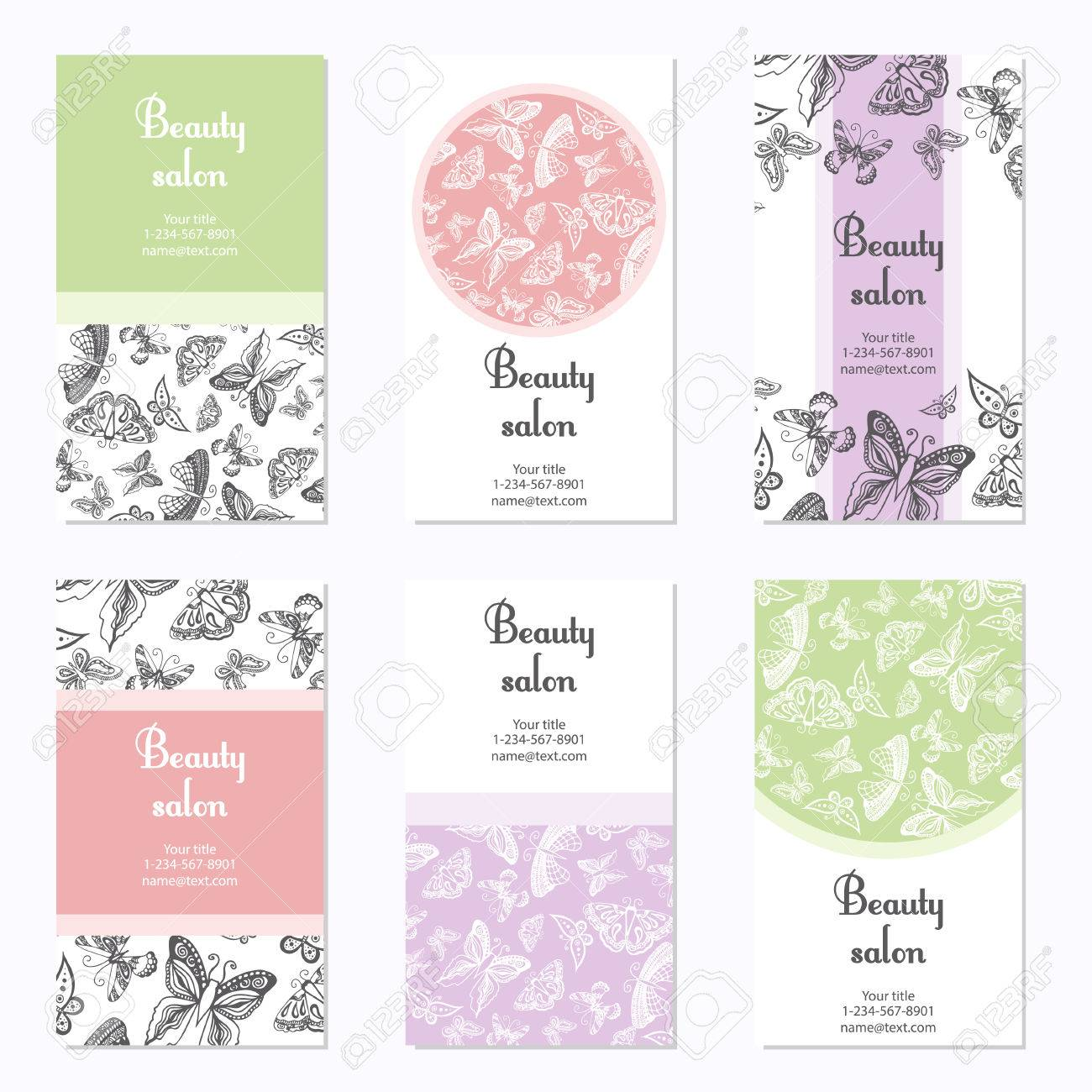 Set Of Beauty Salon Business Cards With Butterfly. Card Template ...