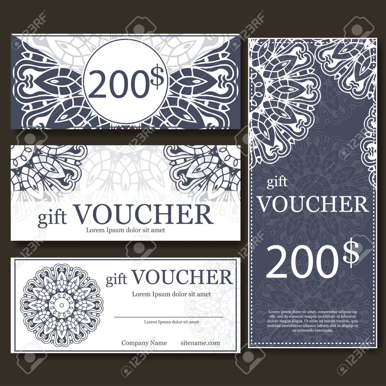 Gift Voucher Template With Mandala Design Certificate For Sport
