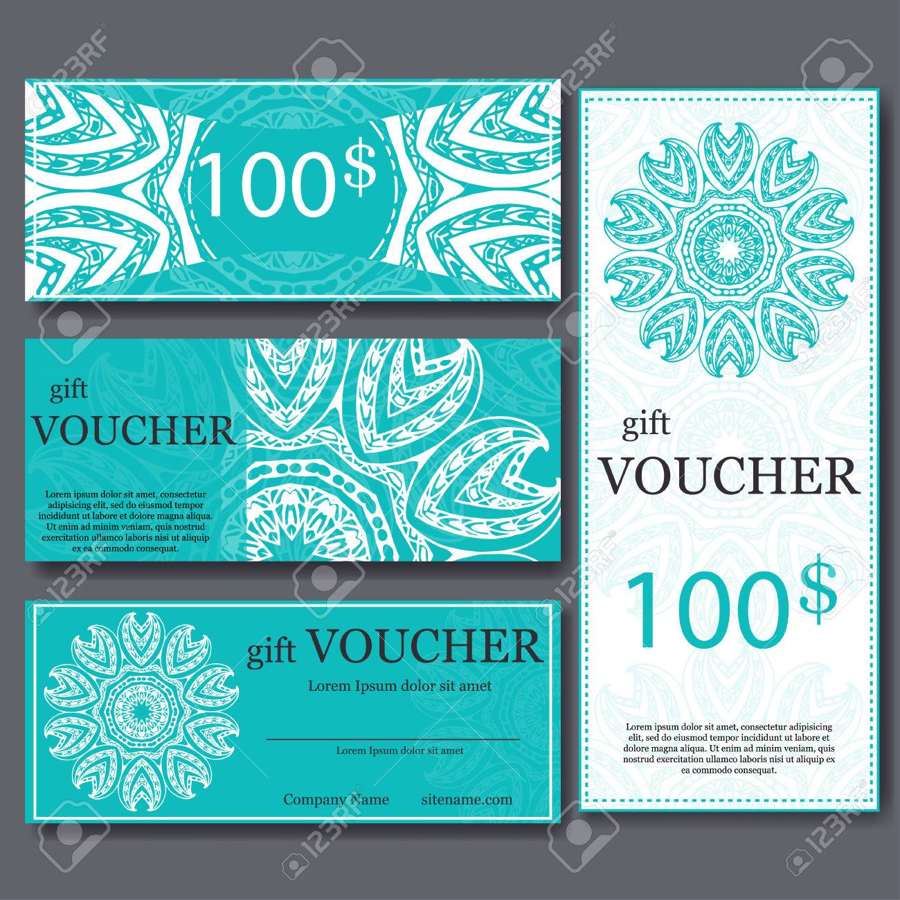 Gift voucher template with mandala design certificate for sport gift voucher template with mandala design certificate for sport center magazine or etc alramifo Images