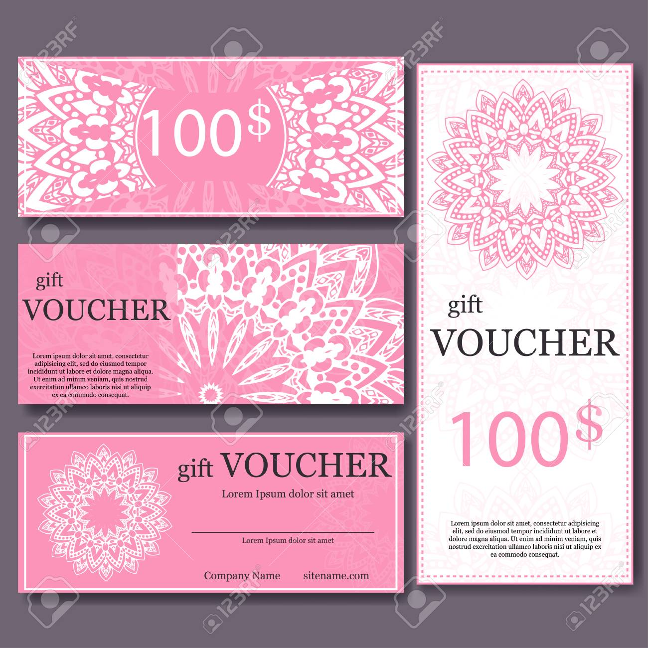 Gift Voucher Template With Mandala Design Certificate For Sport - Magazine subscription gift certificate template