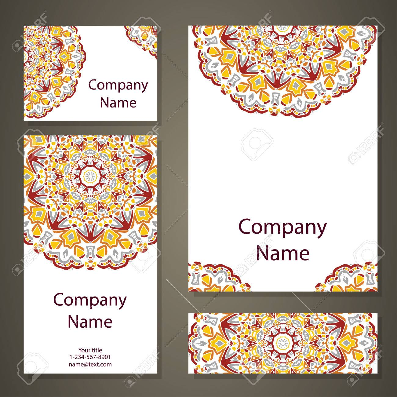 Vector Template Business Card Geometric Background Vintage Decorative Elements Islam Arabic