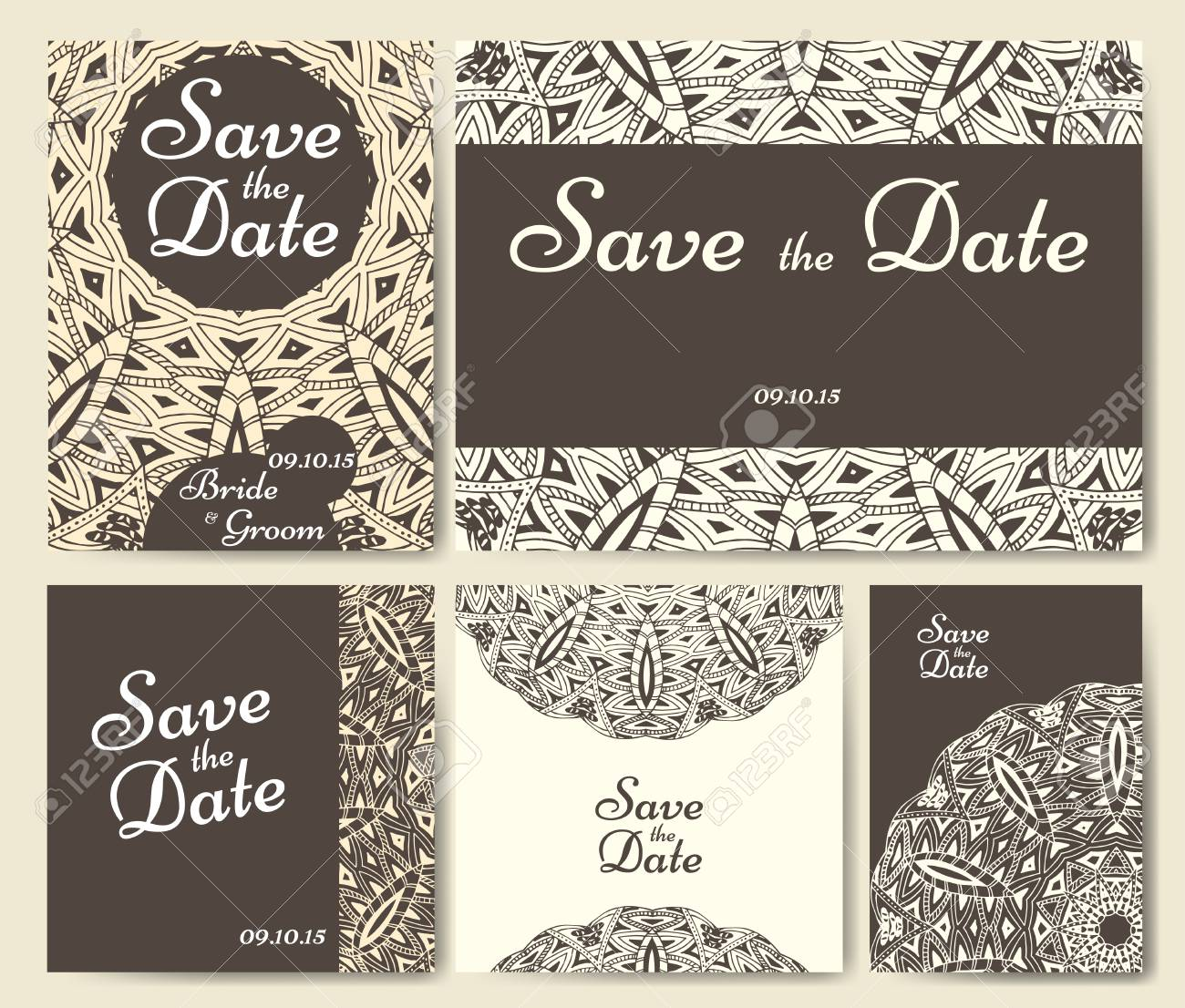 Set Of Wedding Invitations Wedding Cards Template With Individual