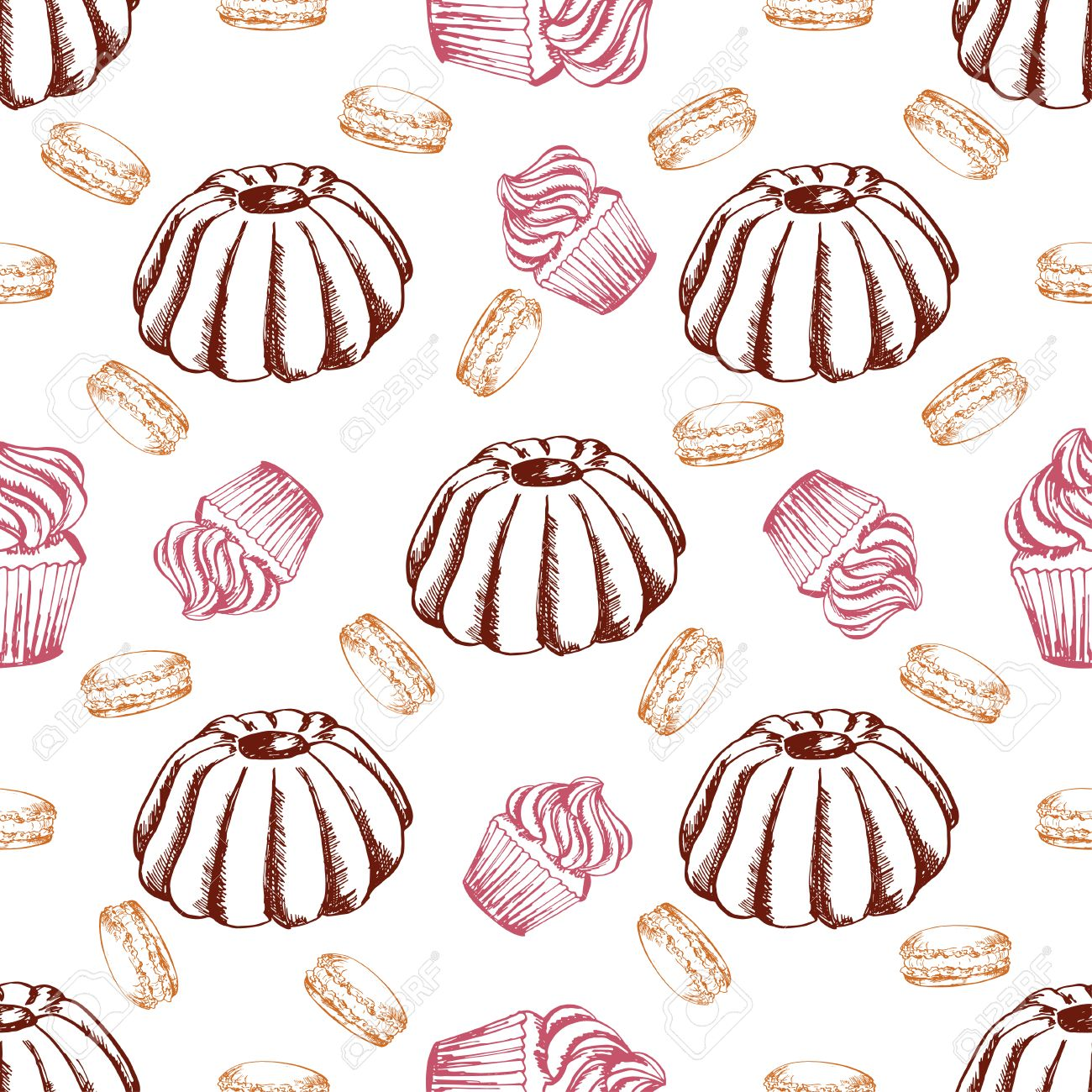 Dessert Nahtlose Muster Süße Hintergrund In Hand Gezeichnet Stil