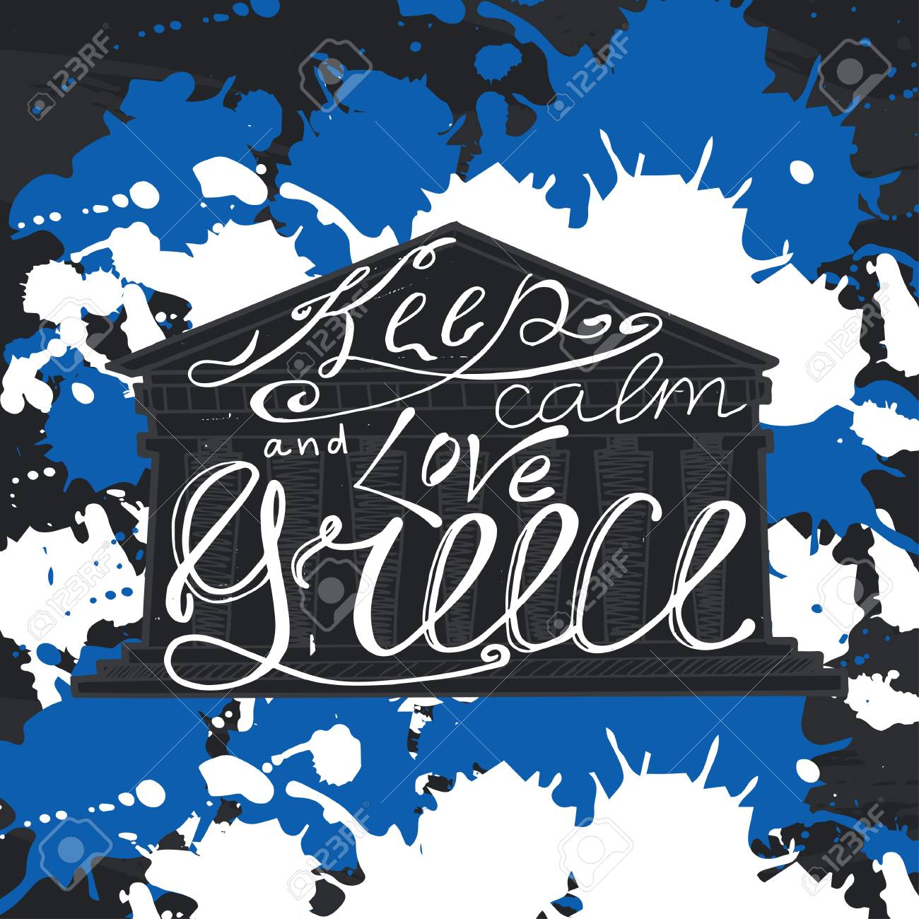 Vector Illustration With Phrase Keep Calm And Love Greece Poster