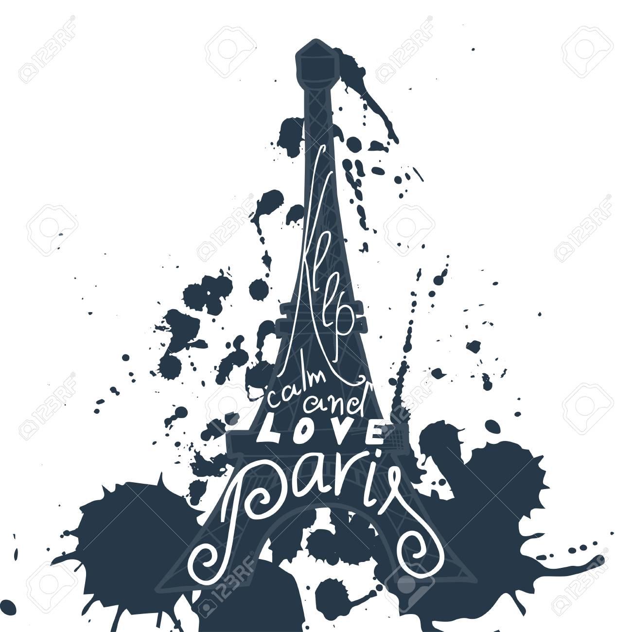 Grafische Typografische Karte Paris. Design-Vektor-Kunst Mit ...