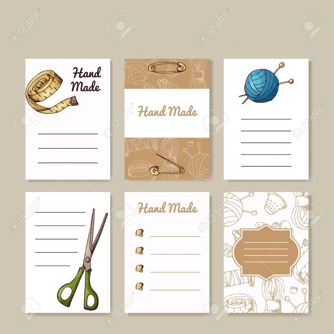 Set Of Sewing Cards. Hand Made Creative Templates For Your Design ...