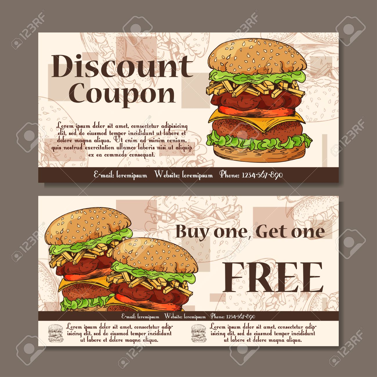 Voucher Template Design. Modern Style For Cafe, Restaurant. Coupon For  Customer Sale.