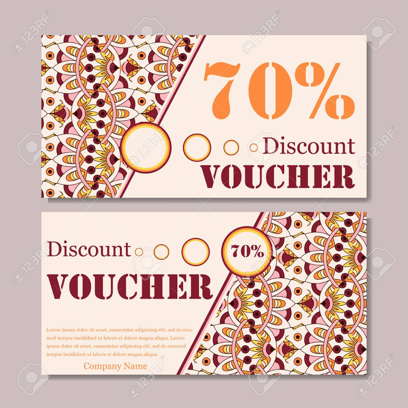 gift voucher template with mandala design certificate for sport or yoga center magazine or