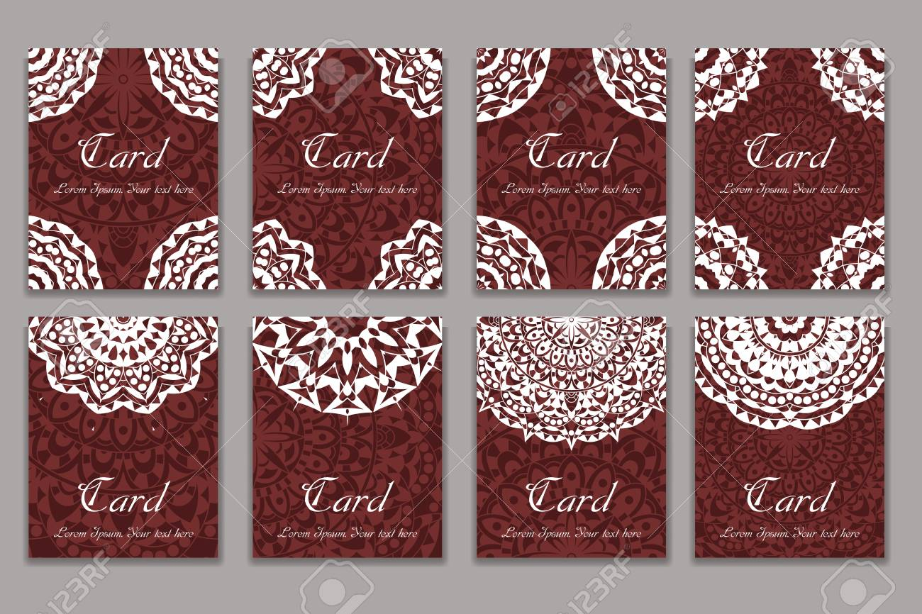Invitation Mandala Design Template. Graphic Card With Hand Drawn ...