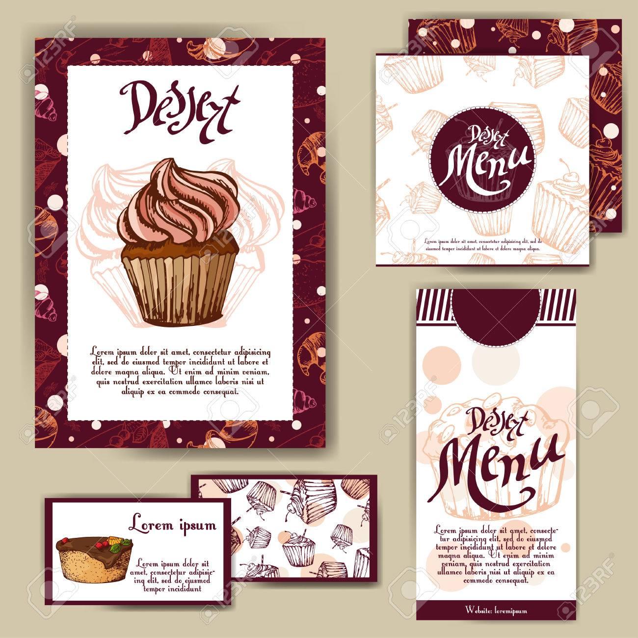 Vector Template With Hand Drawn Sketch Bakery Dessert Menu Design