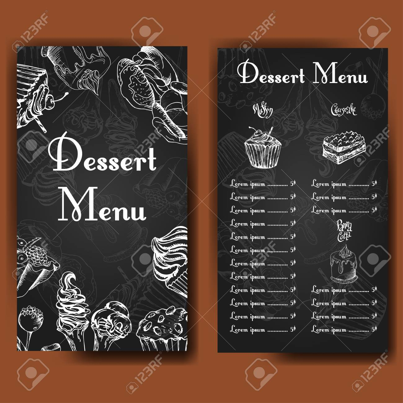 cafe design template hand drawn dessert card set of restaurant