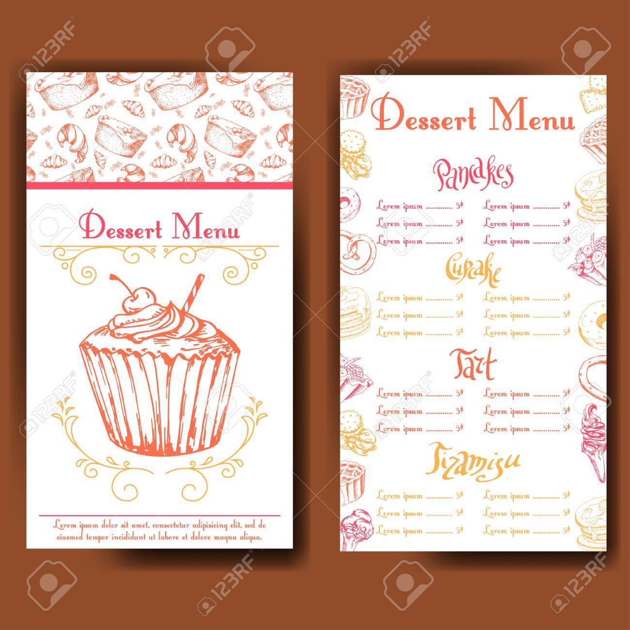 Design For Sweets Shop Template With Different Hand Drawn Desserts