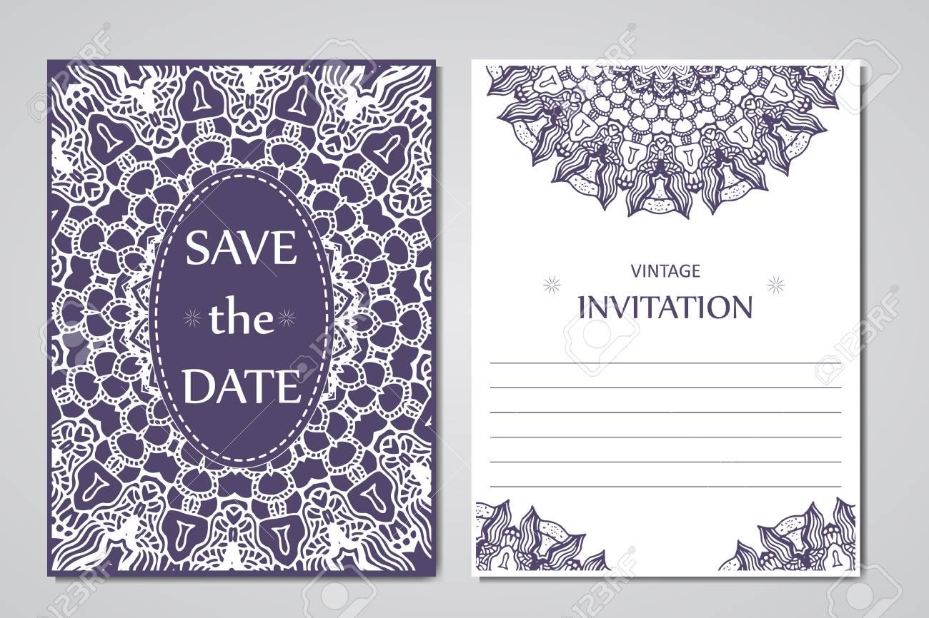 Vorlage Von Hochzeitskarten Runde Orientalischen Spitze Verzierung