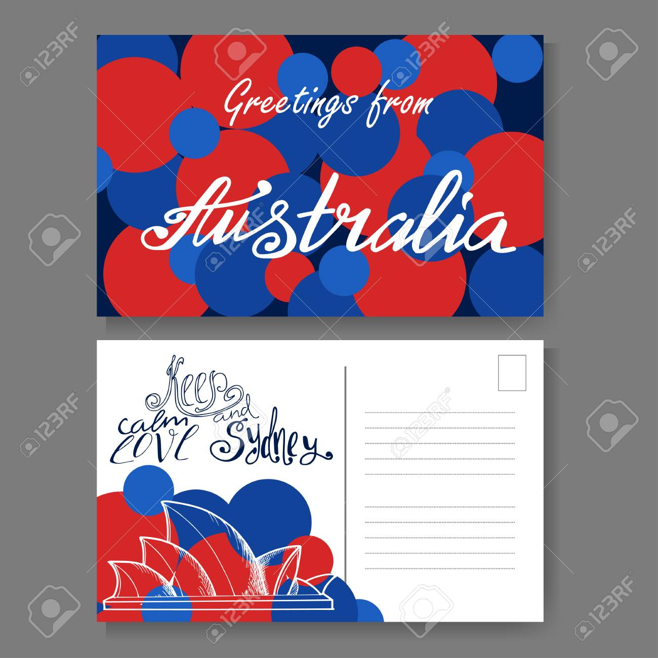 Postkarte Aus Sydney. Hand Gezeichnete Beschriftung Und Skizze ...