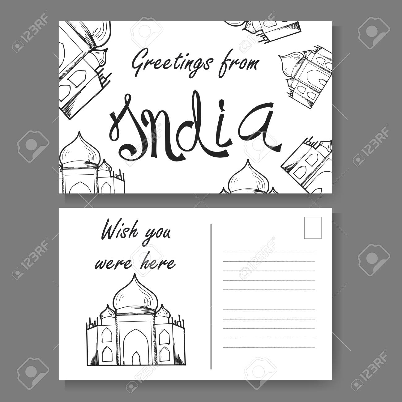 Postcard from delhi hand drawn lettering and sketch greetings postcard from delhi hand drawn lettering and sketch greetings from india vector illestration m4hsunfo