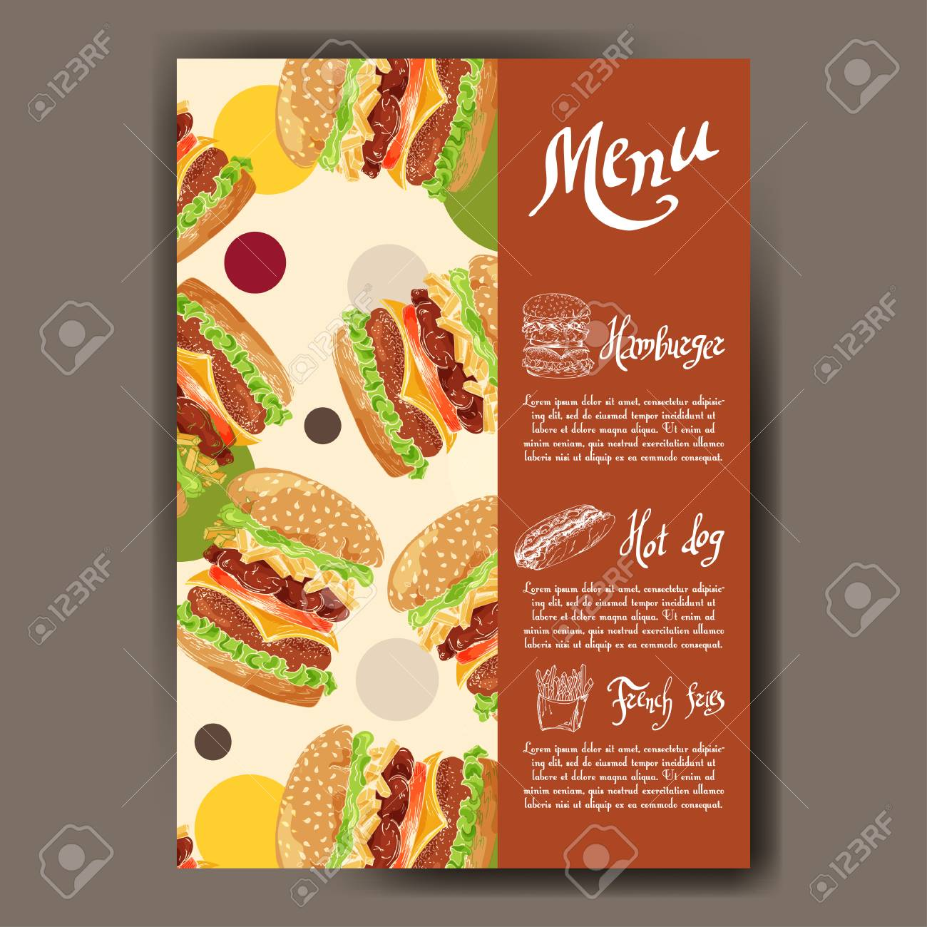 Menú De Café Con Diseño Dibujado A Mano. Plantilla De Menú De ...