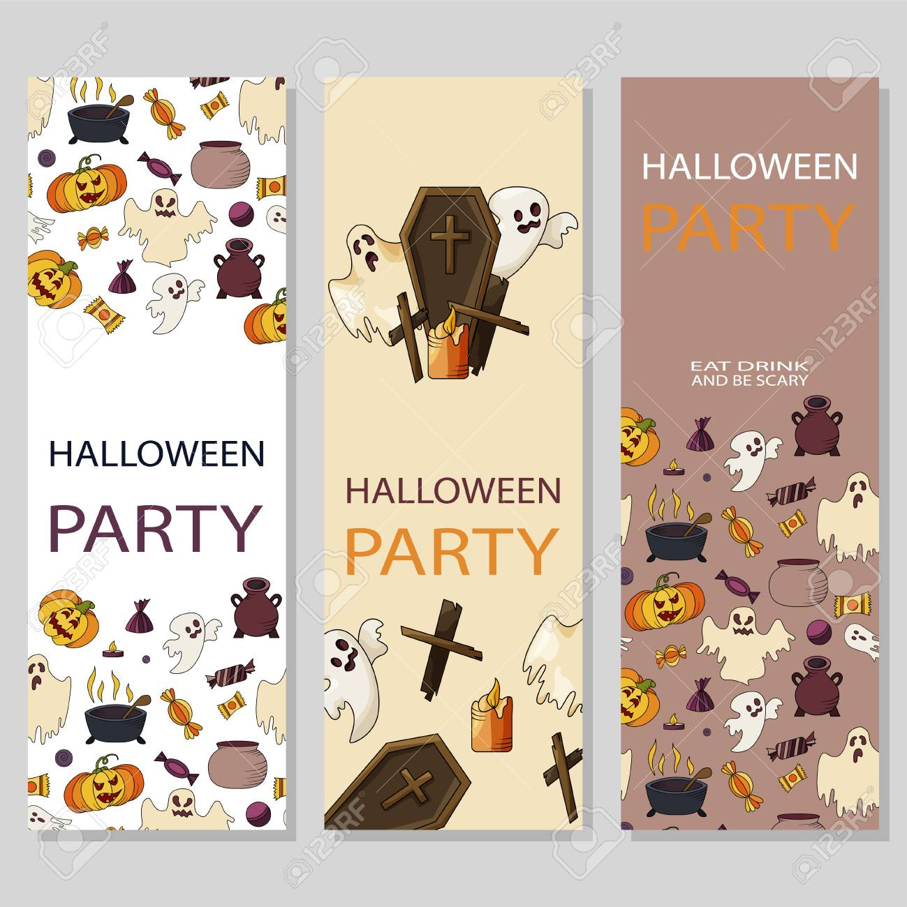 set of halloween card poster party invitation template royalty