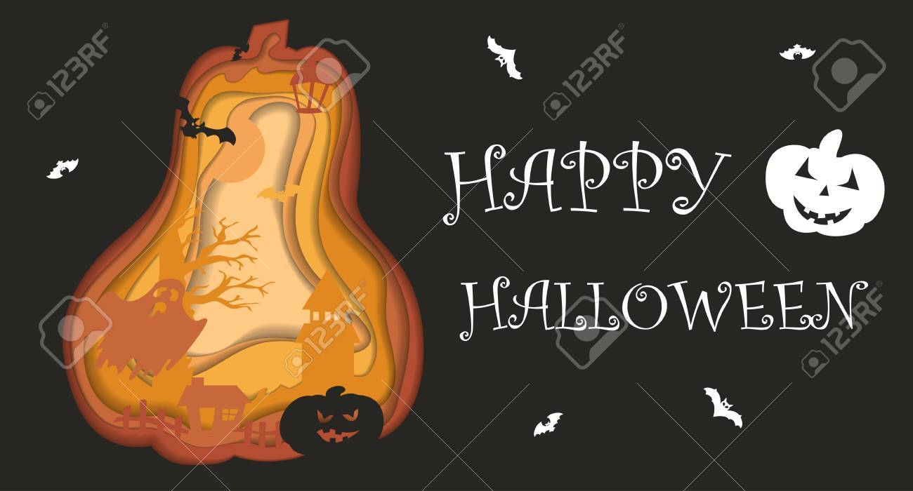 Happy Halloween Poster Design. Vector Template With Paper Cut ...