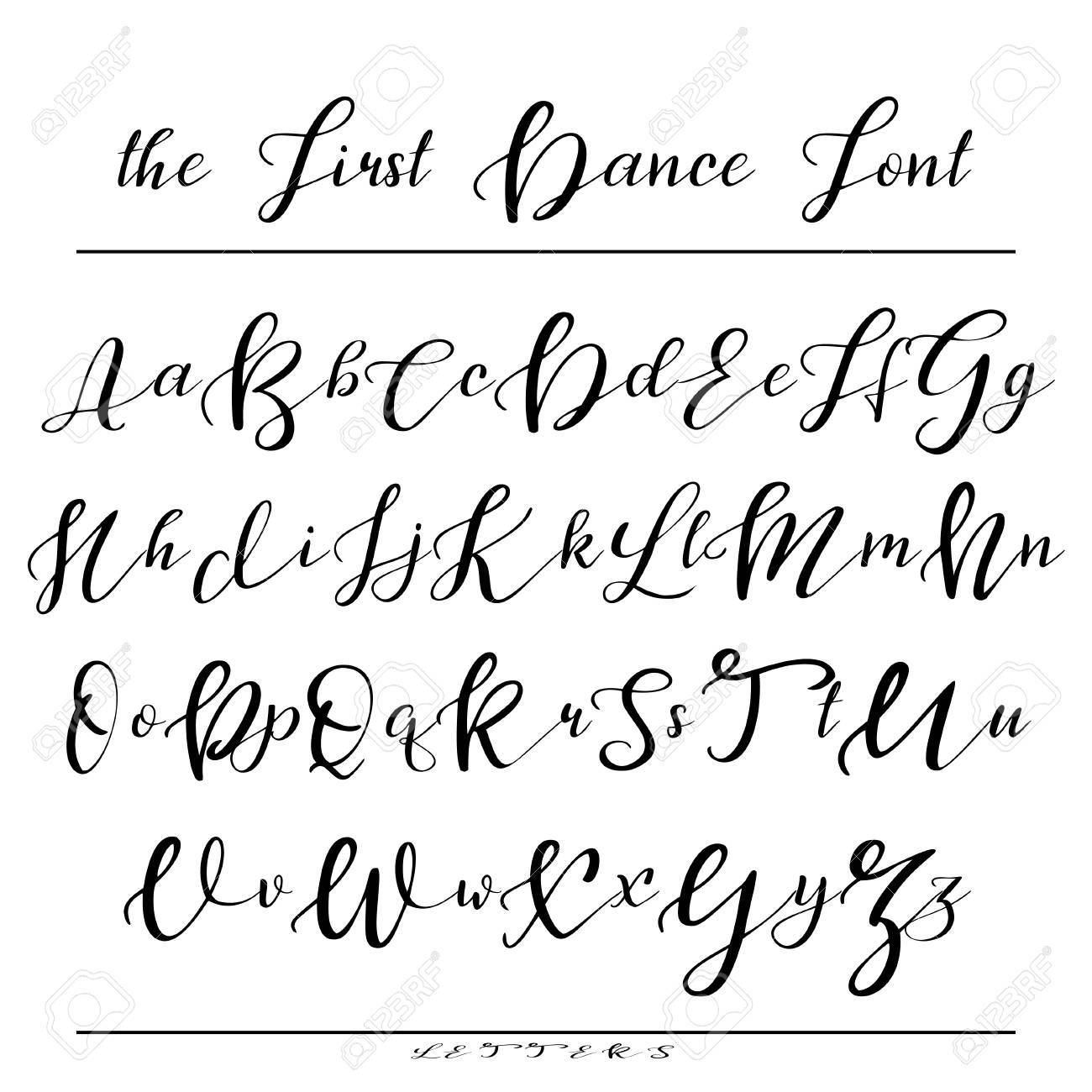 Handwritten Calligraphy Font Vector Alphabet Hand Drawn Letters