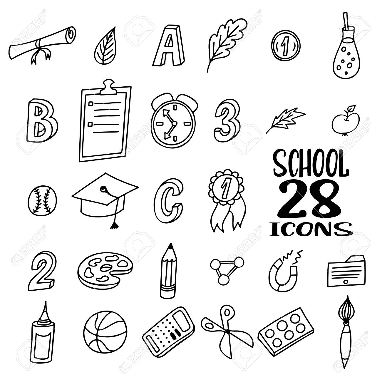 hand drawn doodle school objects. concept of education. verious