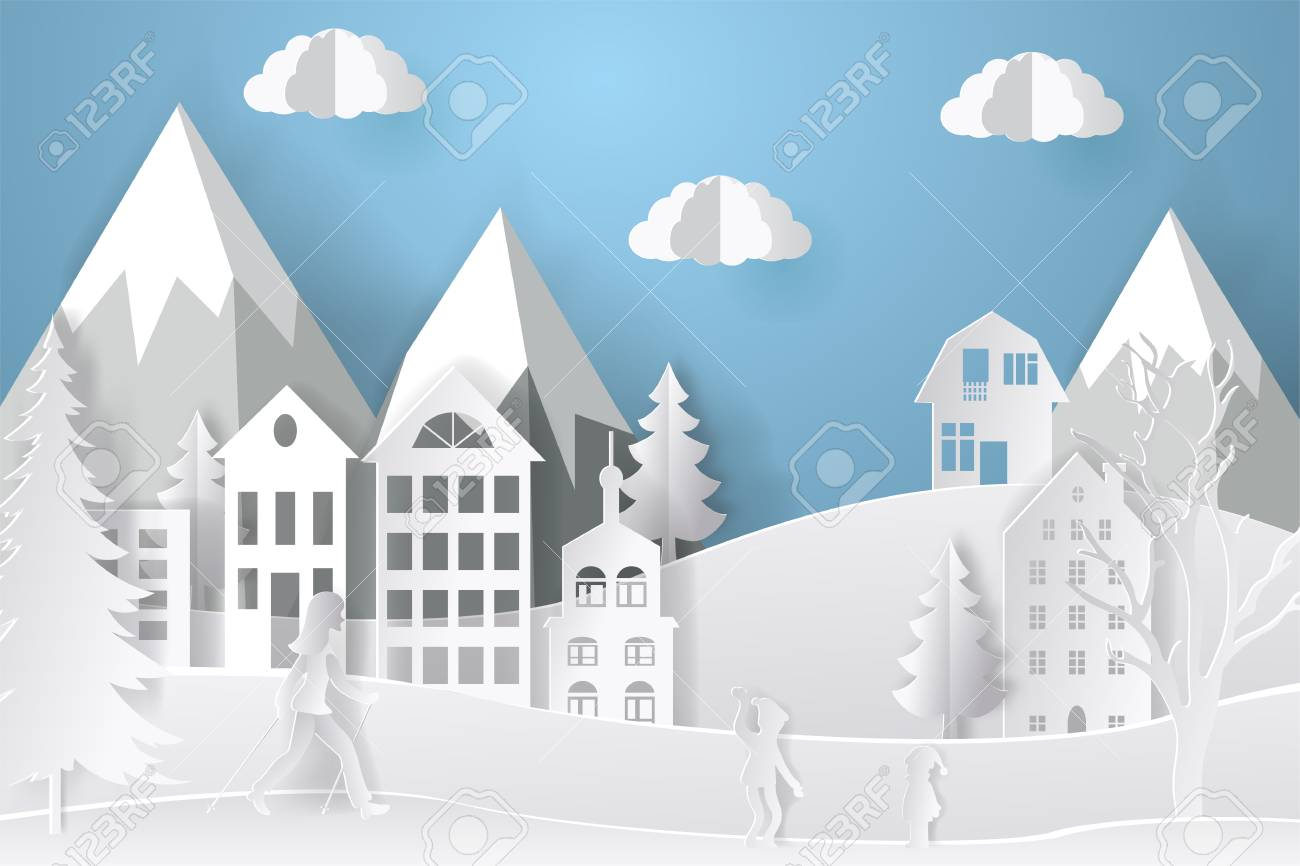 Winter landscape in paper style. Mountains, trees and houses. Layered cut out paper postcard. Vector illustration. - 109627697
