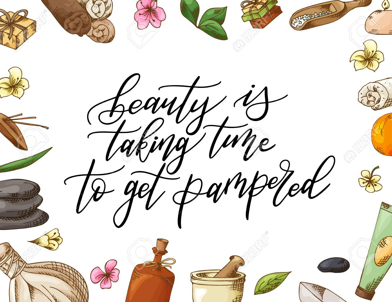 Hand Drawn Quote About Spa Graphic Elements In Sketch Style Royalty Free Cliparts Vectors And Stock Illustration Image 109472883