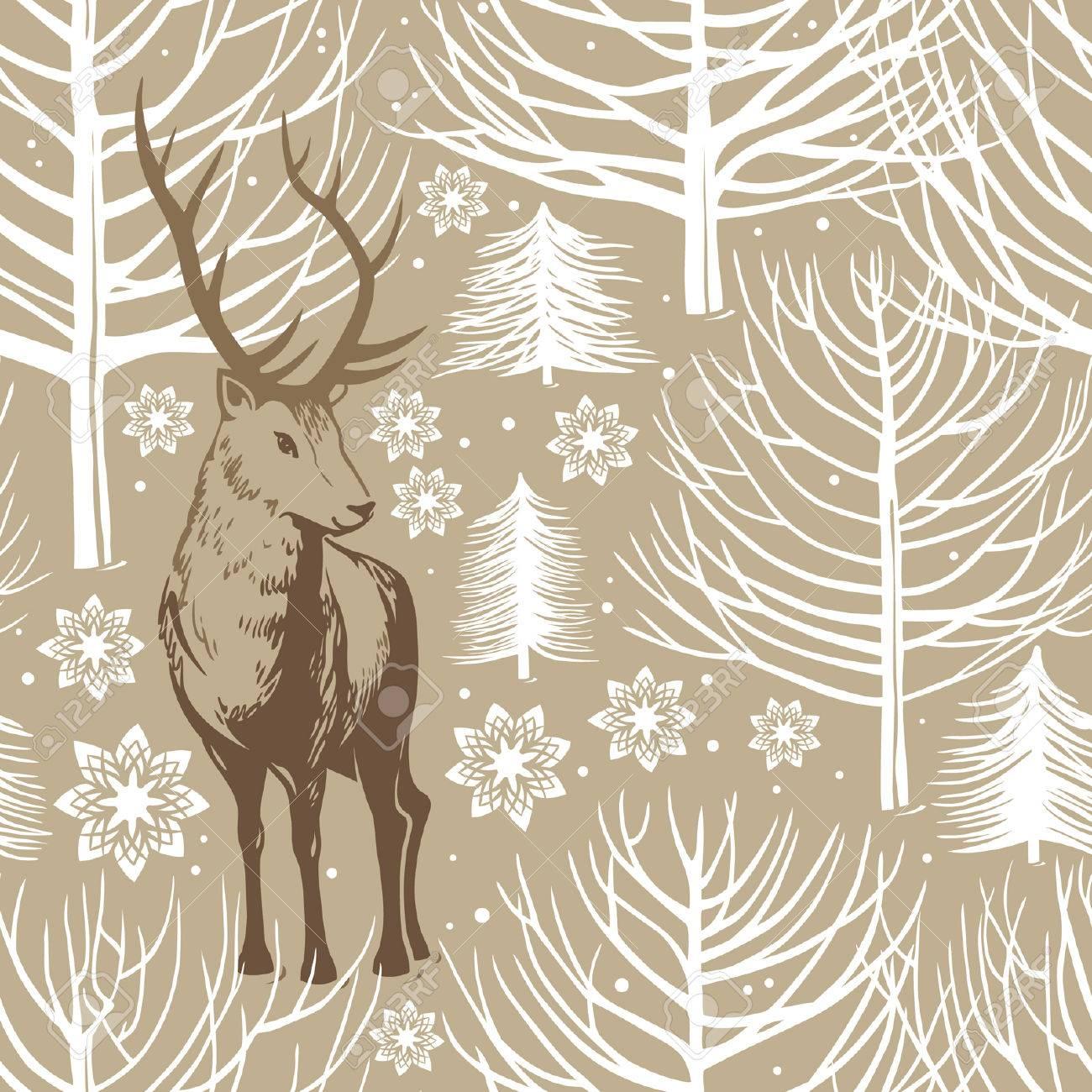 winter seamless pattern, deer - 34632619