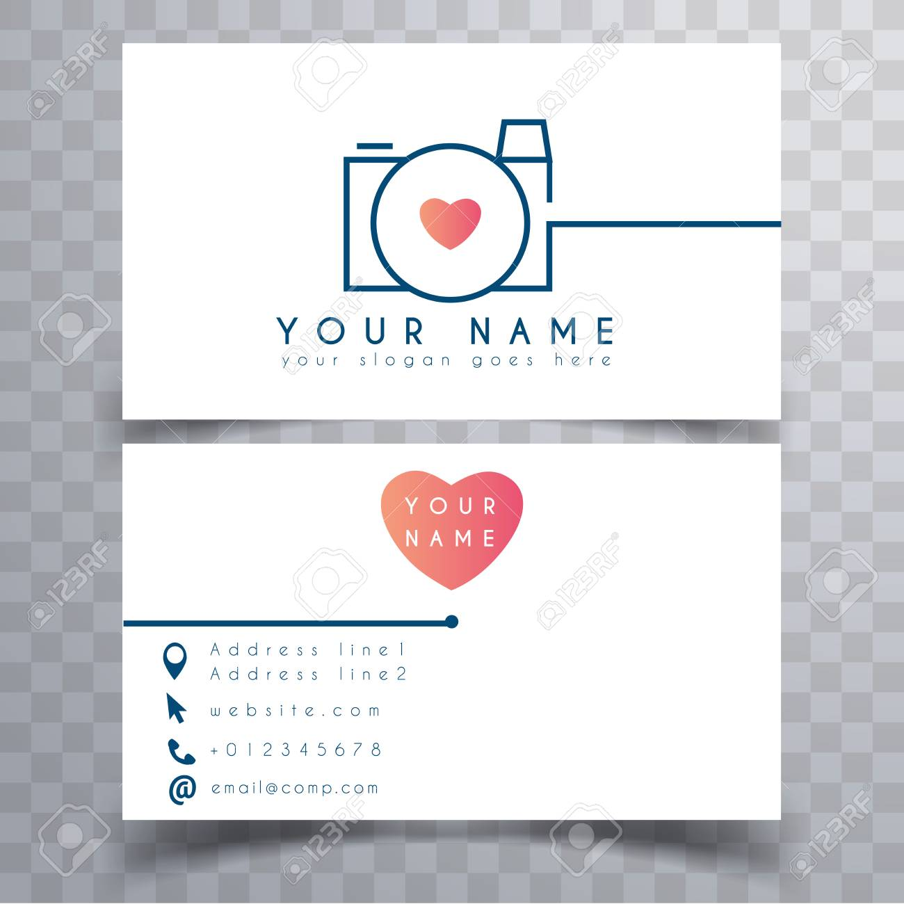 Wedding photographer business card template - 121313603