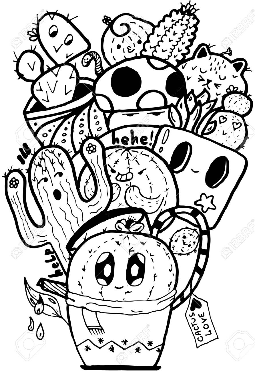 Cactus Love Easy Doodle Black And White Isolated Pattern Royalty Free Cliparts Vectors And Stock Illustration Image 94908323