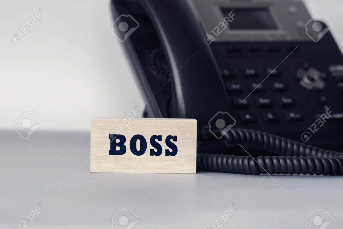 Closeup of the wooden block with text - BOSS. Office and communication concept - 168670738