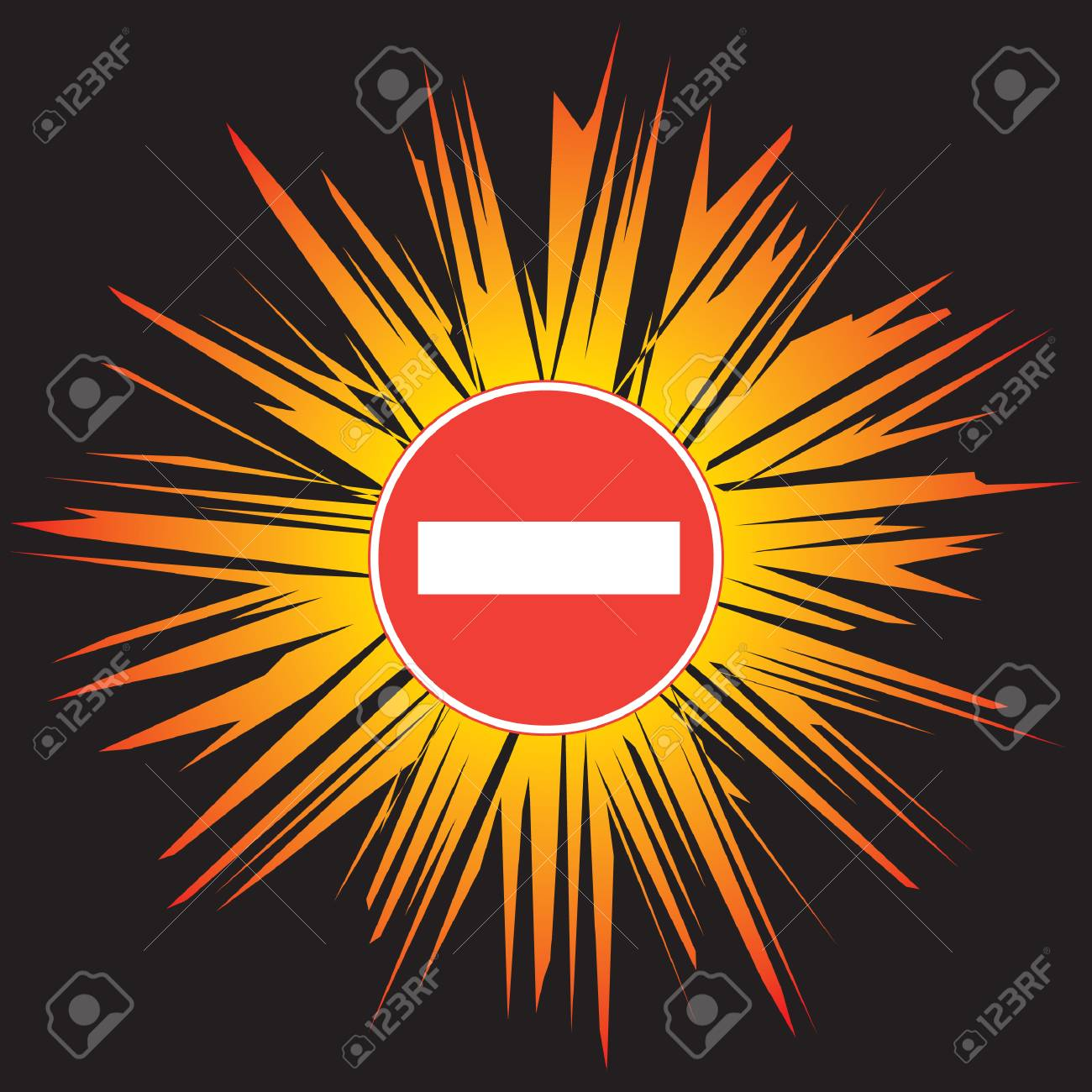 Attention - No Entry Stock Vector - 5432653