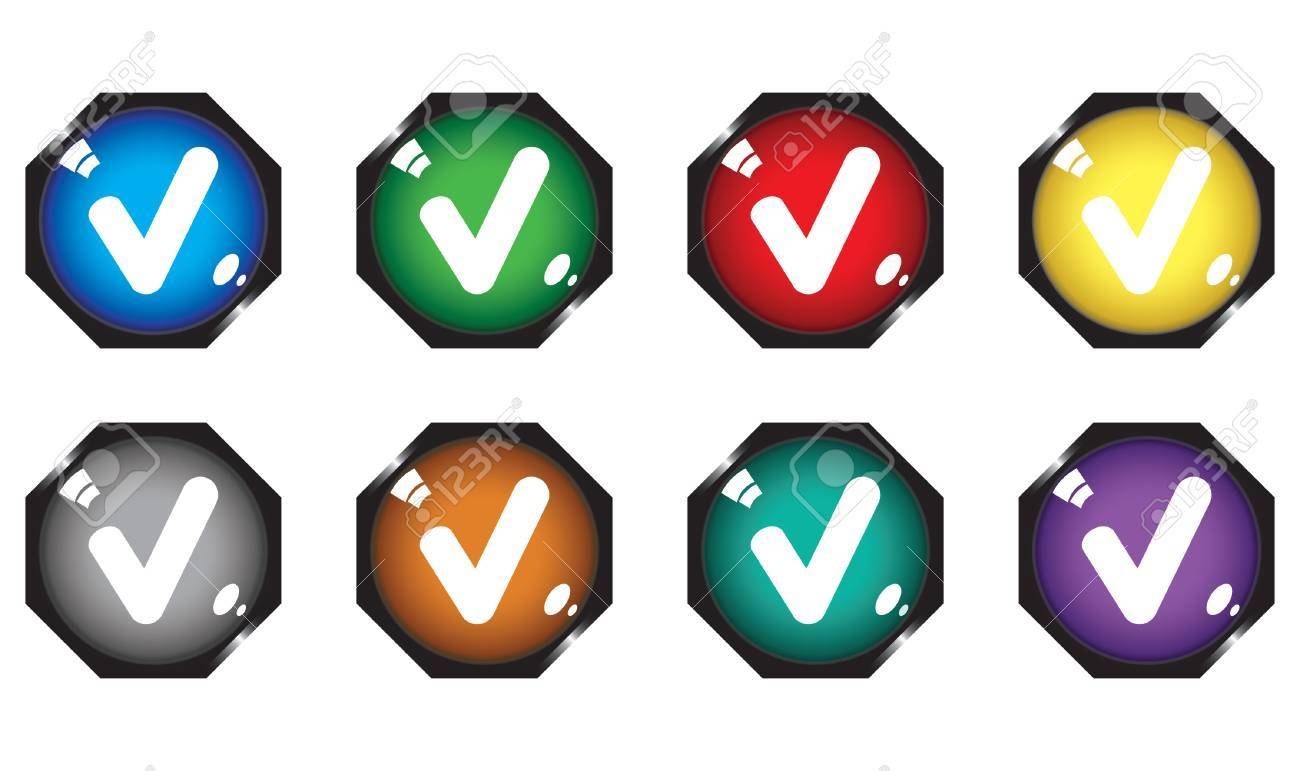 Eight buttons with checkmarks Stock Vector - 6131929