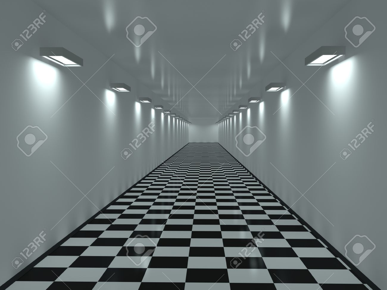 Long Corridor With A Tiles On A Floor Stock Photo, Picture And ...