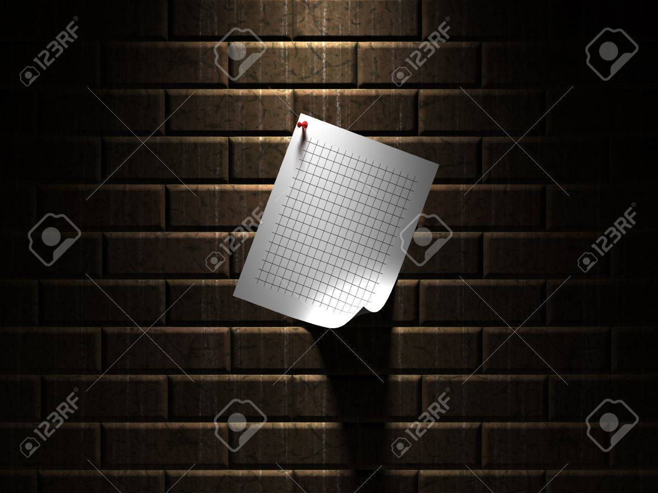Sheet of paper hanging on a wall Stock Photo - 12217537